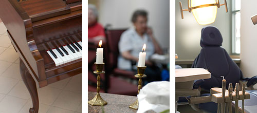 Pictures of a piano, shabbat candles, and dental chair