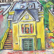 Painting of a yellow house