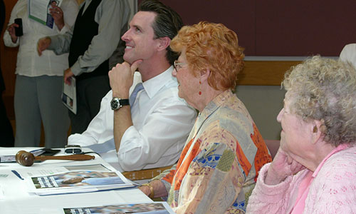 Mayor Newsom at the Council of Residents meeting