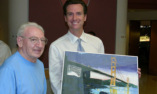 Jewish Home resident Rudy Hooremans made a gift of his original painting of the Golden Gate Bridge